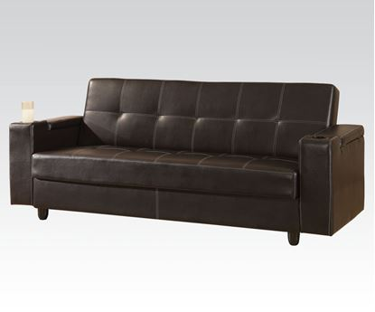 Picture of Brown PU Adjustable Sofa with Solid Arms