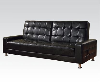 Picture of Black PU Adjustable Sofa with Solid Arms