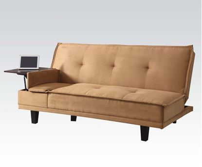 Picture of Adjustable Sofa with Hidden Table Light Brown Microfiber  A