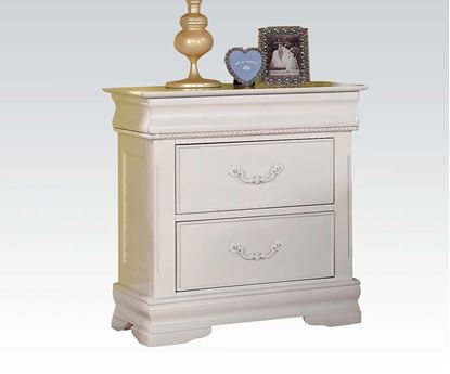Picture of Classique White Finish Nightstand w/ Hidden Drawer