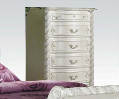 Picture of Pearl White Finish Wood 5 Drawers Chest