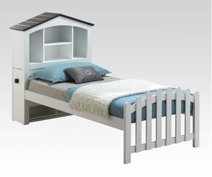 Picture of Docila White and Chocolate Finish Youth Twin Bed