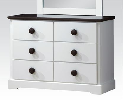 Picture of Docila White and Chocolate Finish Dresser