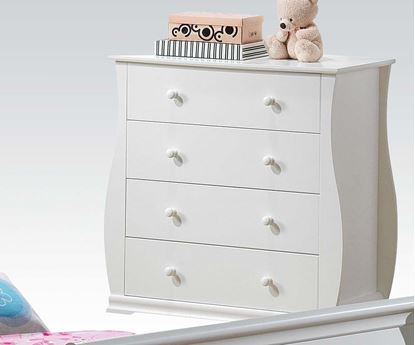 Picture of Nebo White Wave Shaped Youth Bedroom 4 Drawers Chest