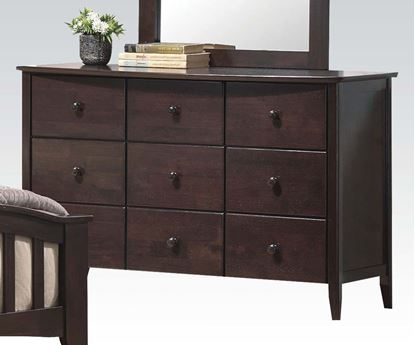 Picture of San Marino Transitional Walnut Finish 9 Drawer Dresser