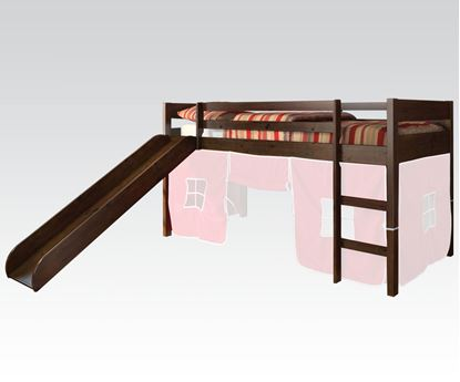 Picture of Modern Espresso Kids Twin Loft Bed with Slide
