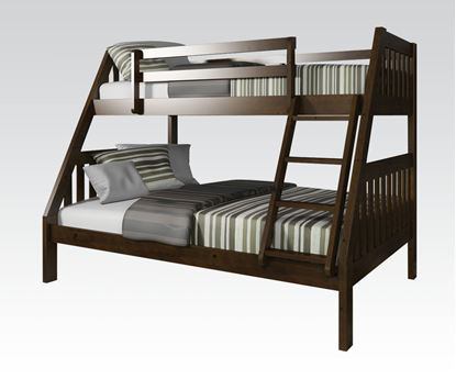 Picture of Espresso Wood Twin Over Full Bunk Bed