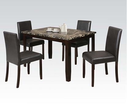 Picture of 5Pc Pk Bk Faux Marble Dining Set  W/P2