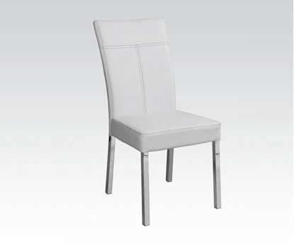 Picture of 4 Pcs. Side Chair in White PU and Chrome Finish  (Set of 4)