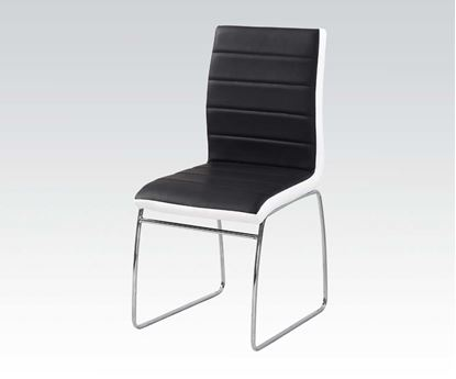 Picture of 2 Pcs. PU Chair with Black/White PU and Chrome  (Set of 6)