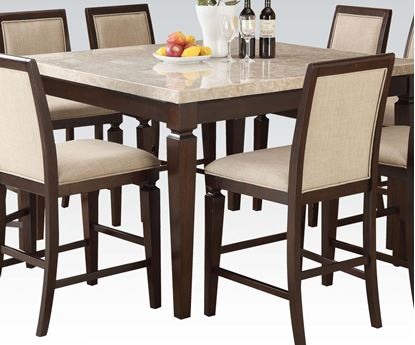 Picture of Agatha White Marble Top Dining Table in Espresso Finish