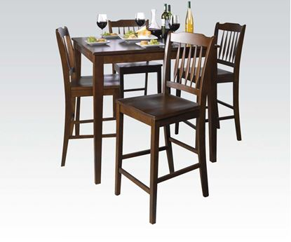 Picture of 5 Pcs. Pack Donnie Walnut Finish Counter Height Table Set