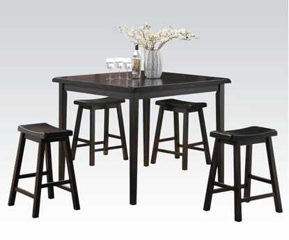 Picture of Contemporary Pack Dark Walnut 5PCs. Counter Height Table Set