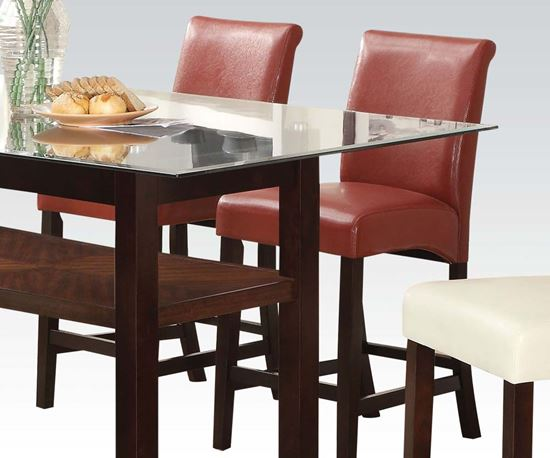 Picture of Counter Height Chair in Red Bycast PU Finish Set of 2    (Set of 2)