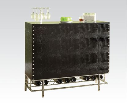 Picture of Gitel Black Crocodile Faux Leather Modern Bar Table