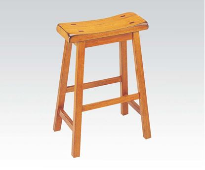 "Picture of Contemporary Oak Finish 24"" Seat Height Solid Wood Stool  (Set of 2)"