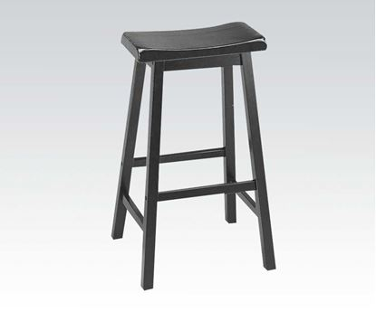 "Picture of Contemporary Black Finish 29"" Seat Height Solid Wood Stool    (Set of 2)"