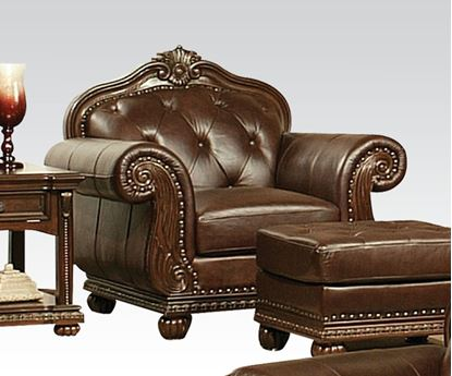 Picture of Anondale Traditional Top Grain Leather Cherry Sofa Chair
