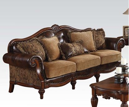 Picture of Dreena Traditional Bonded Leather and Chenille Sofa