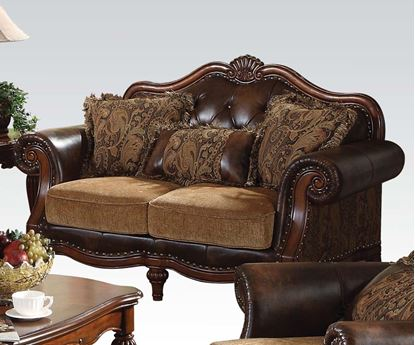 Picture of Dreena Traditional Bonded Leather and Chenille Loveseat