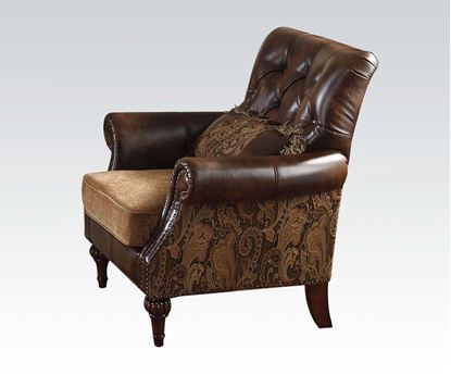 Picture of Dreena Traditional Bonded Leather and Chenille Chair