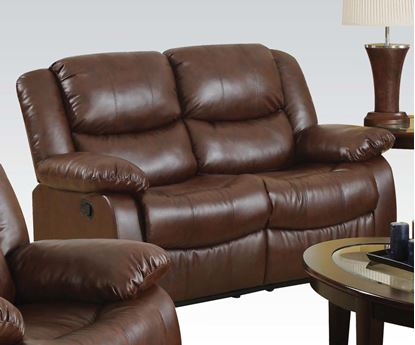 Picture of Fullerton Brown Bonded Leather Match Finish Motion Recliner Loveseat