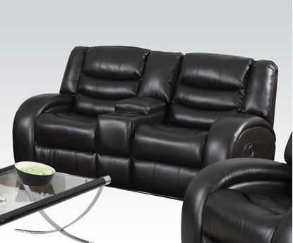 Picture of Modern Dacey Espresso Bonded Leather Motion Loveseat w/Console