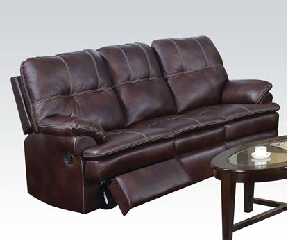 Picture of Zamora Brown Polished Microfiber Motion Sofa