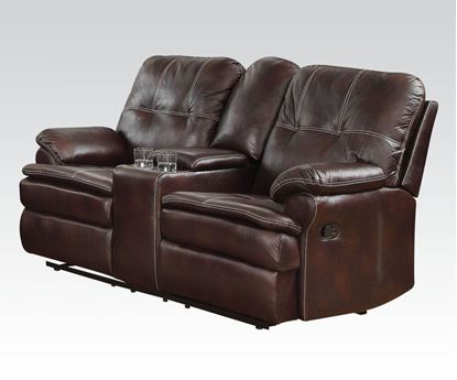 Picture of Zamora Brown Polished Microfiber Motion Loveseat w/Console