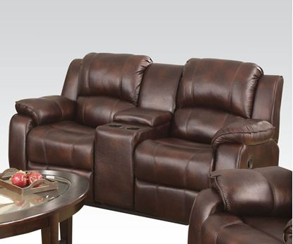 Picture of Zanthe Brown Microfiber Power Motion Loveseat w/ Console