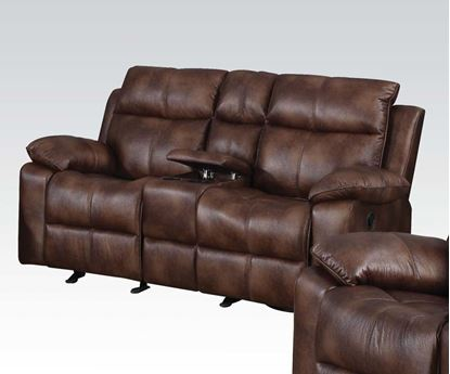 Picture of Dyson Light Brown Polished Microfiber Motion Loveseat