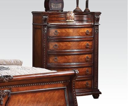 Picture of Nathaneal Traditional Tobacco Marble Top Chest