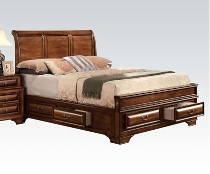 Picture of Konance Brown Cherry Finish Queen Sleigh Bed