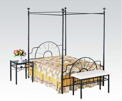 Picture of Black Metal Full Canopy Bed