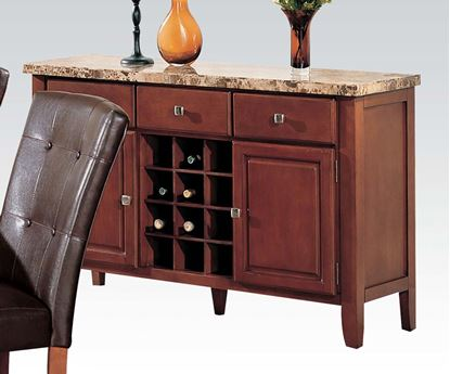 Picture of Brown Marble Top Dining Server with Wine Rack