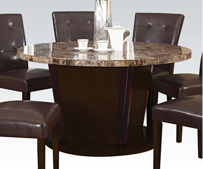 Picture of Granada Brown Finish Round Marble Top Dining Table
