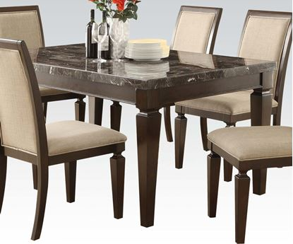 Picture of Agatha Black Marble Top Espresso Finish Dining Table