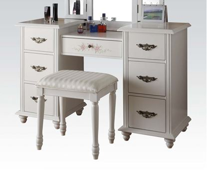 Picture of Torian White Finish Vanity with Stool