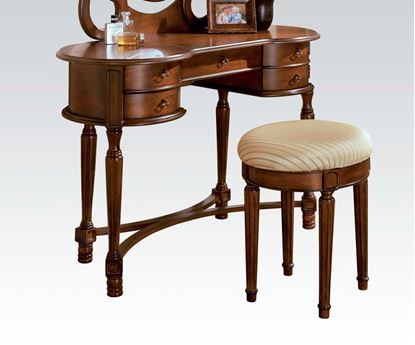 Picture of Floral Vanity Set with Padded Bench in Cherry Finish