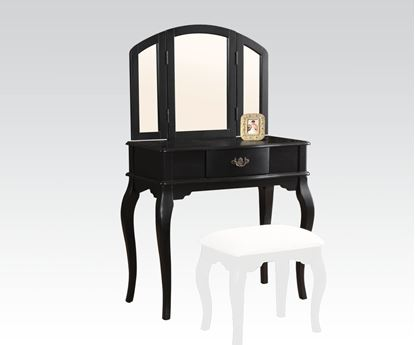 Picture of Black Finish Vanity Set and Stool with Tri fold Mirror