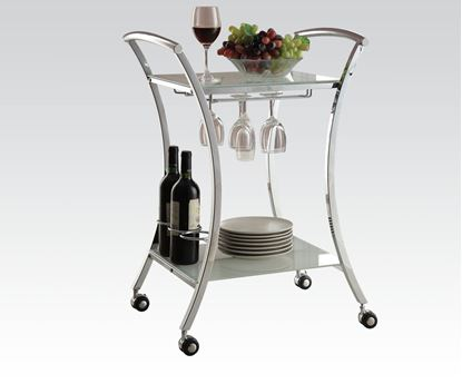 Picture of Modern Metal Serving Cart with Glass Shelves