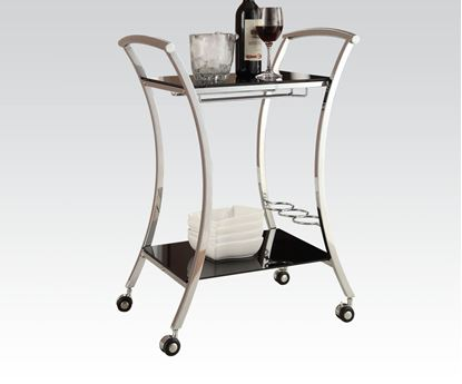 Picture of Modern Metal Kitchen Cart with Wheels Chrome Finish