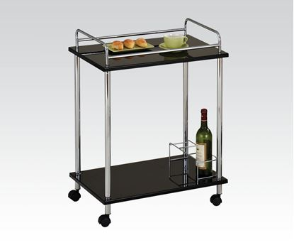 Picture of Daksh Chrome Serving Cart W/5Mm Tempered Black Glass