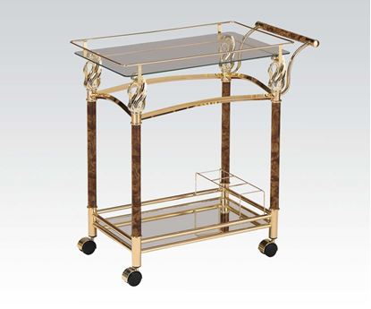 Picture of Modern Golden Plated with Clear Serving Cart