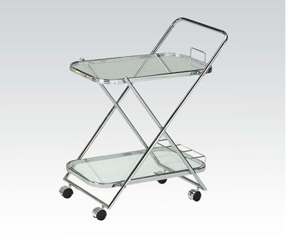 Picture of Modern Chrome Clear Glass Serving Cart