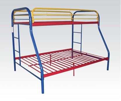 "Picture of 2"" Tube Rainbow Finish Twin Over Full Metal Bunk Bed"