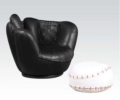 Picture of Baseball Black Swivel Chair w/ White Ottoman Set